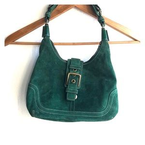 COACH VintageStyle Suede Hobo Bag w/ Gold Hardware